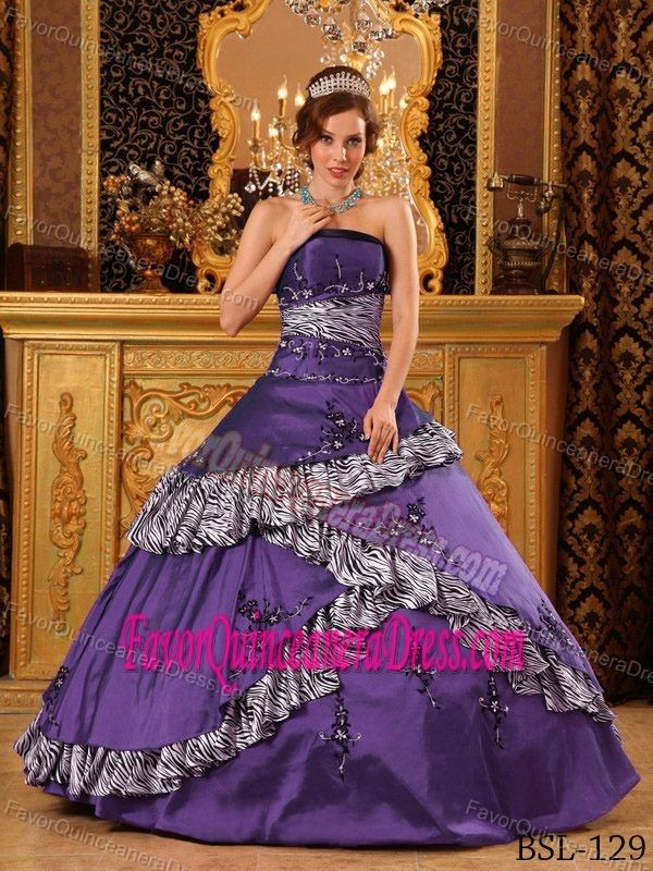 1cdca9e9ea Pretentious Quinceaneras Dress with Strapless Neck and Zebra Print Fabric  Decorate