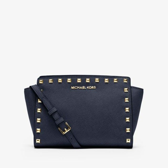 6aac09af34fd MICHAEL Michael Kors Selma Studded Saffiano Leather Messenger Navy Blue