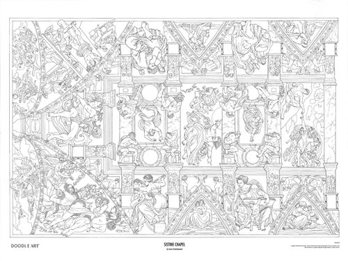 coloring posters adults doodle art sistine chapel coloring page poster bw - Coloring Pages Art