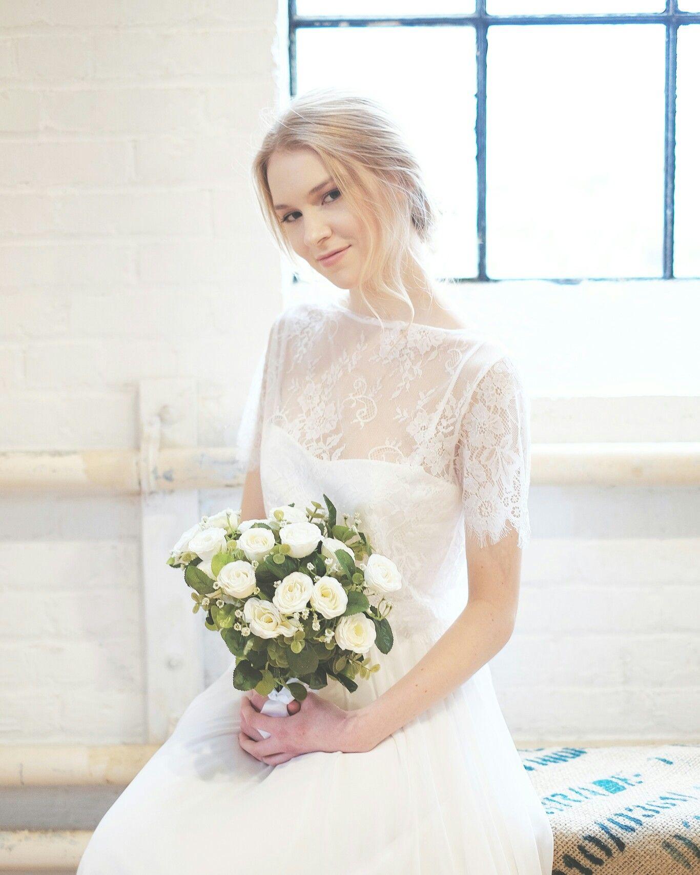 Emily dress lace top classic cropped top chiffon skirt wedding