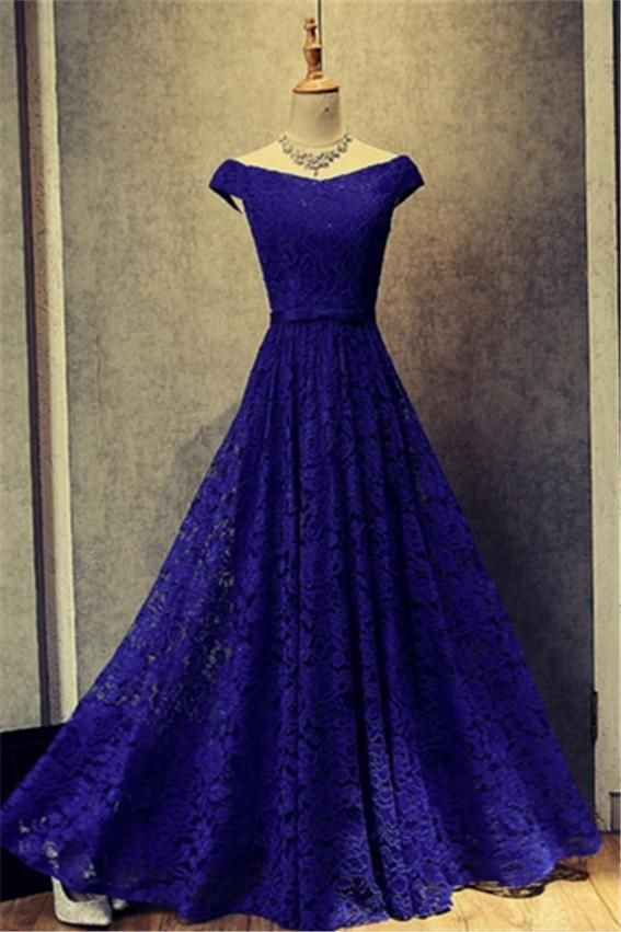 Off-the-Shoulder Cap Sleeves Lace Evening Dress lace prom dresses ...