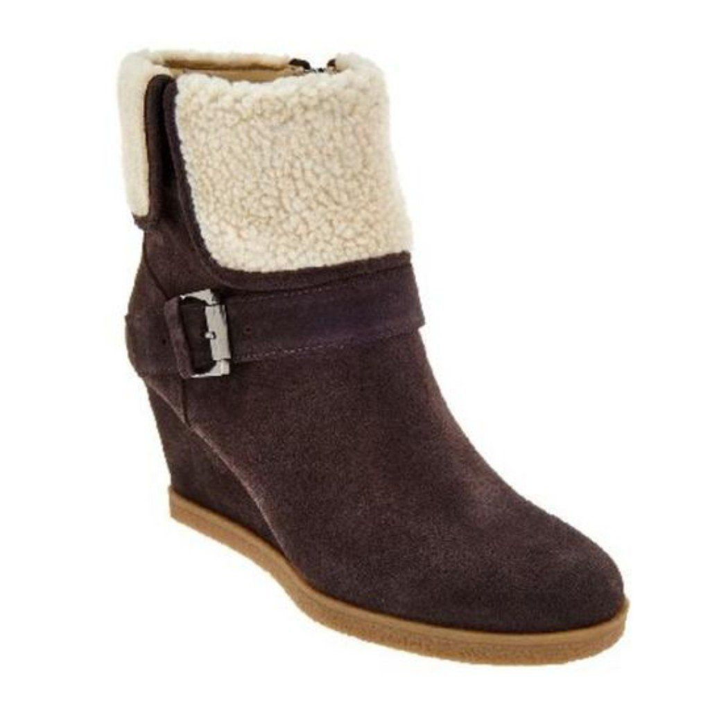bee504cfdd4 Isaac Mizrahi Live! Suede Wedge Ankle Boots With Faux Sherpa   designerfashionsales  fashion  beauty  bestseller  beautiful  authentic   trendingfashion ...