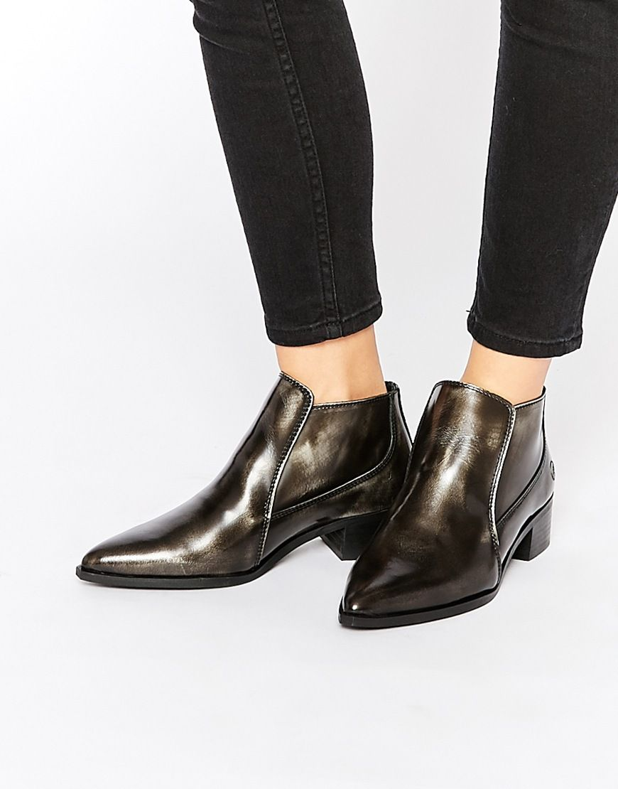 Image 1 of Bronx Brushed Leather Pewter Pointed Toe Ankle Boots ...