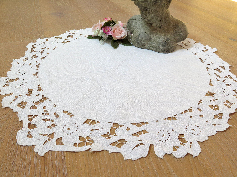 Tischdecke Jugendstil Zierdeckchen Rosen Richelieu Spitze Etsy Jugendstil Decke Tischdecke