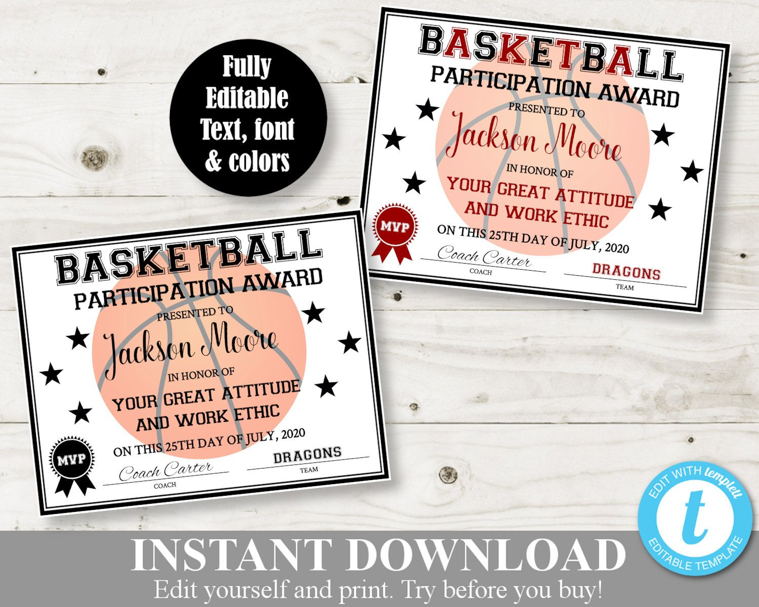 Pin on Sports Printables Awards & Certificates