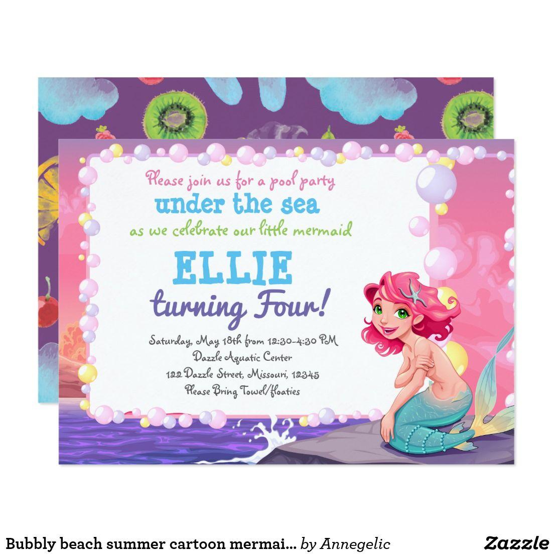 Bubbly beach summer cartoon mermaid photo frame invitation | { Happy ...
