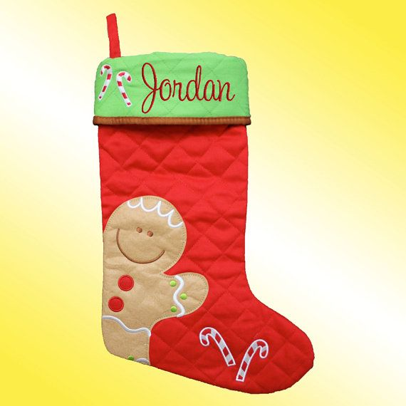Christmas Stocking - Personalized and Embroidered - Gingerbread Man