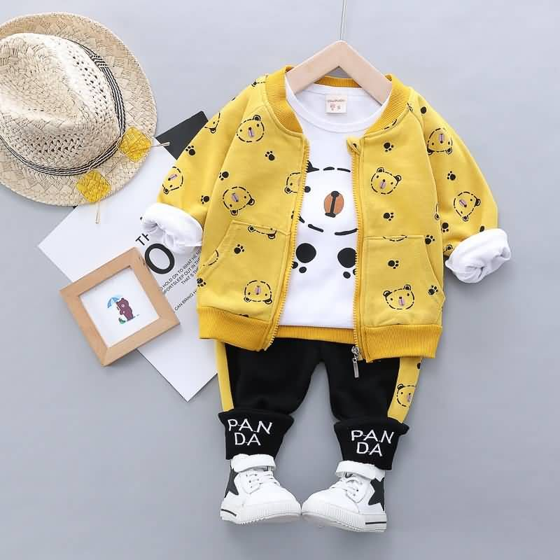 Baby Toddler Bear Long Sleeve T Shirt And Coat With Letters