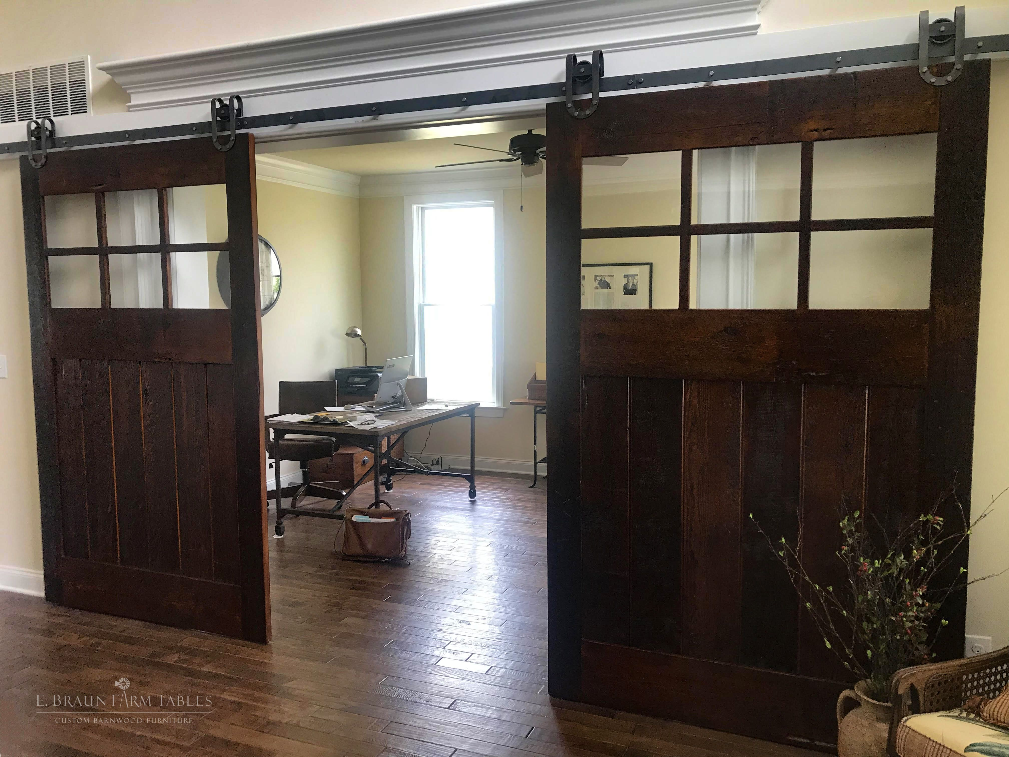 Why Yes We Make Custom Barn Doors Doors Shown Are Each 90 5 8 H X 56 5 8 W And Are Crafted Using High Charact Barnwood Furniture Custom Barn Doors Barn Door