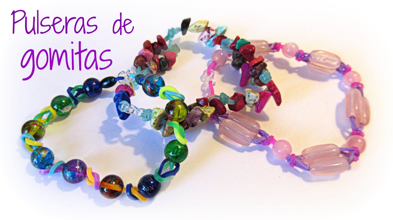 Como hacer pulseras de gomitas con cuentas Rubber bands bracelets