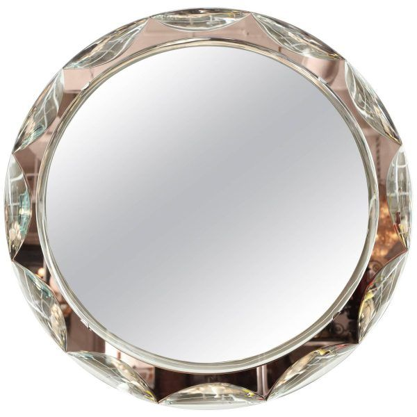 Stunning round beveled and scalloped mirror with salmon colored glass frame made in Italy, 1955 by Cristal Arte.