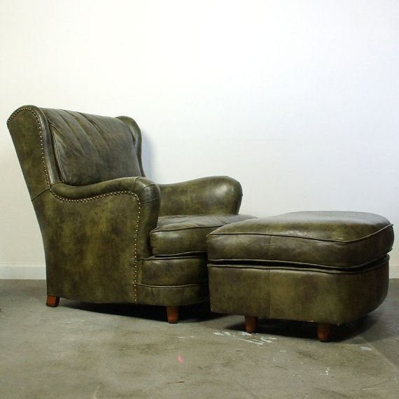 Beautiful Moss Green Leather Chair And Ottoman