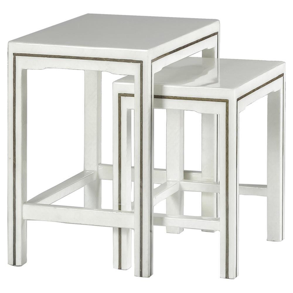 Rockland Coastal White Sea Grass Brass Nesting Tables In 2020 Nesting Tables White Accent Table New Furniture