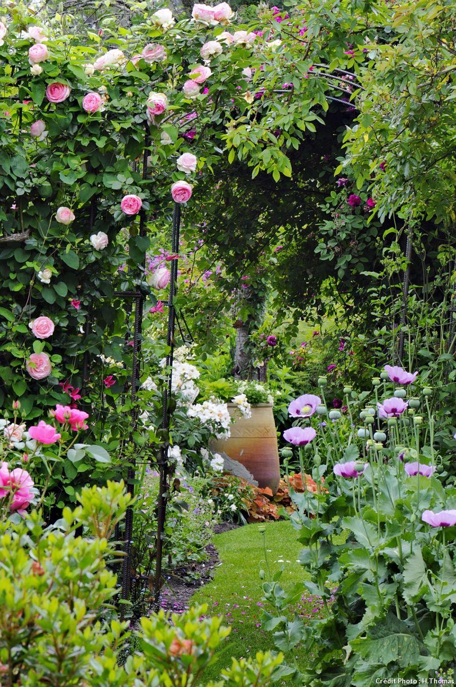 Un jardin de roses et de vivaces dans les landes detente jardin jardin de - Jardin romantique anglais ...