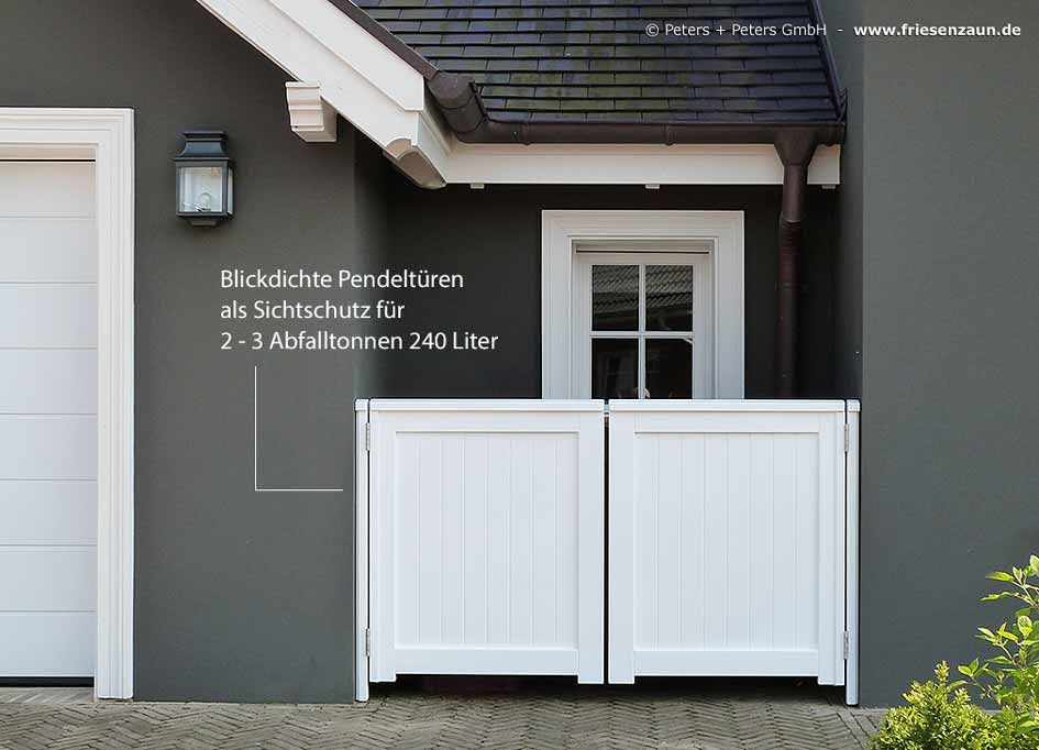 auch so kann man seine abfalltonnen verstecken ein blickdichtes doppeltor schafft sichtschutz. Black Bedroom Furniture Sets. Home Design Ideas