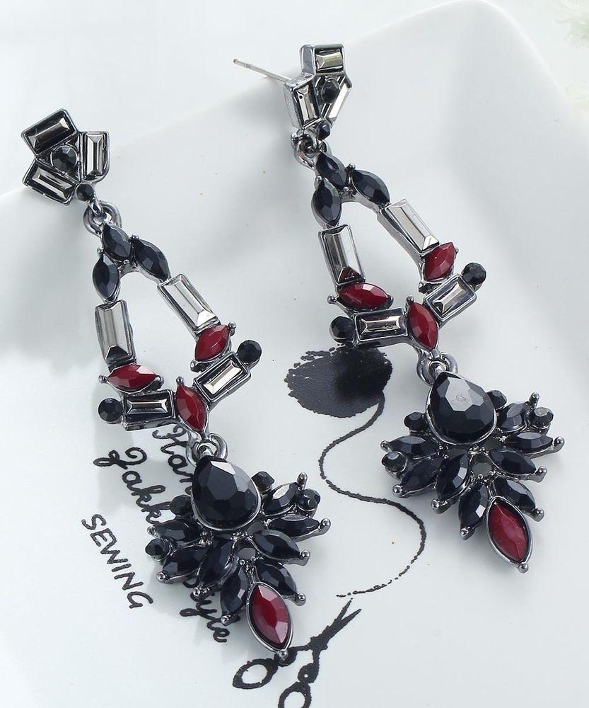Fashion Elegant Black Crystal Rhinestone Ear Drop Dangle Stud Long Earrings  93