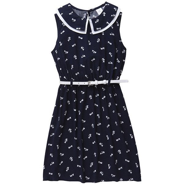 Girls' Cat Print Dress With Peter Pan Collar (115 VEF) ❤ liked on Polyvore featuring dresses