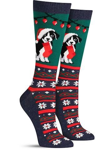 Non-slip Christmas dog socks in green  d46ad5a0e