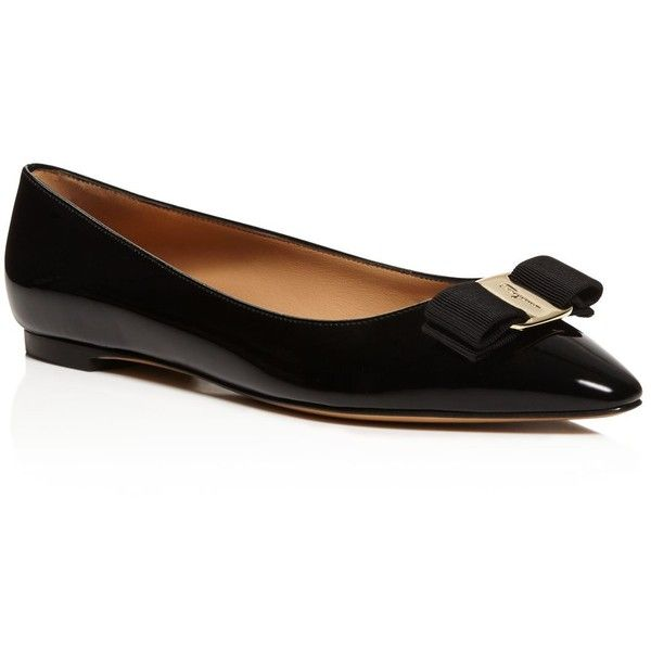 Salvatore Ferragamo Pointed-Toe Bow Flats