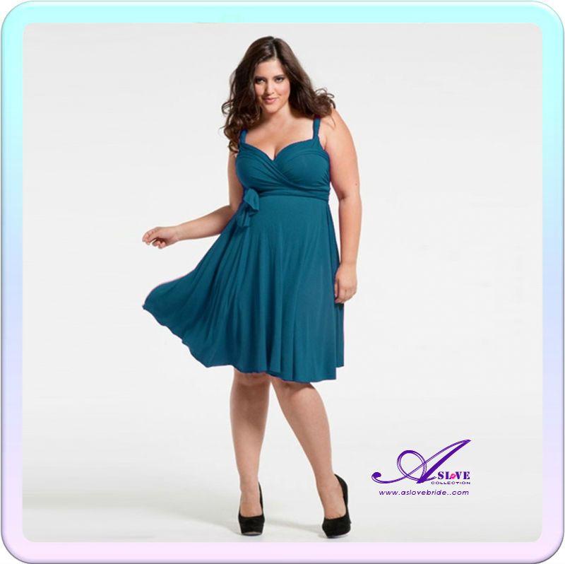 A-line Spaghetti Strap Deep Green Chiffon Knee Length Party Dresses ...