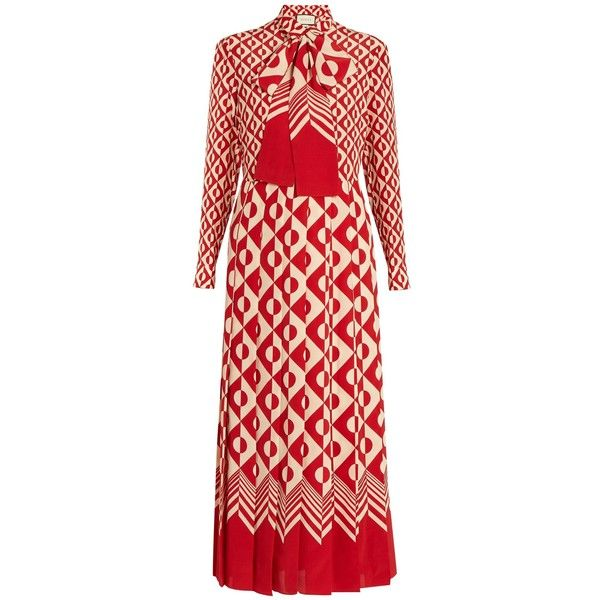 4bd787fbf Gucci Long-sleeved geometric-print silk dress (70 860 UAH) via Polyvore  featuring dresses, red white, gucci, red dress, long sleeve button dress,  long ...