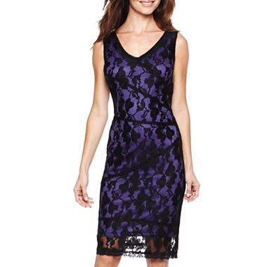 Sleeveless Stretch-Lace Dress - jcpenney