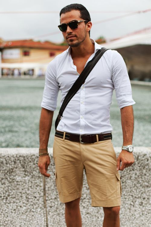 Men's White Long Sleeve Shirt, Tan Shorts, Dark Brown Leather Belt ...