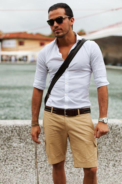 Men 39 s white long sleeve shirt tan shorts dark brown for White shirt brown buttons