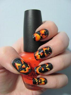 Jack-o-lantern nail ideas