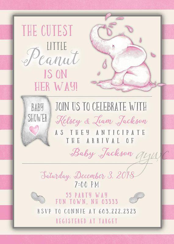 Elephant Baby Shower Invitation Girl Cute Elephant Baby Shower Invite Girl  Vintage Pink Gray Shower Printable Elephant Shower Watercolor Thank Youu2026