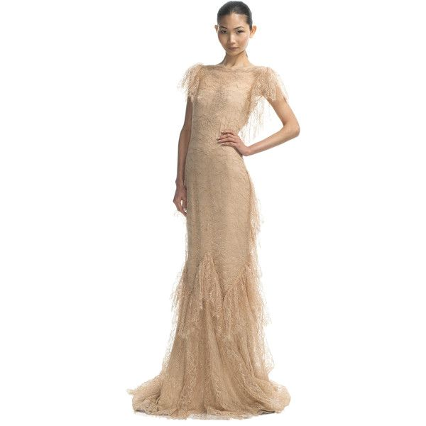 Marchesa Ruffle Sleeve Lace Gown ($7,950) ❤ liked on Polyvore ...