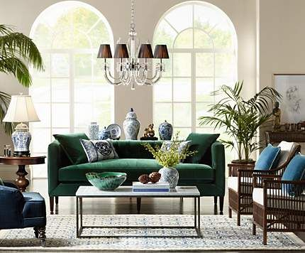 A Grand Living Room Done In High Tropical Style And Vibrant Green Blue Hues