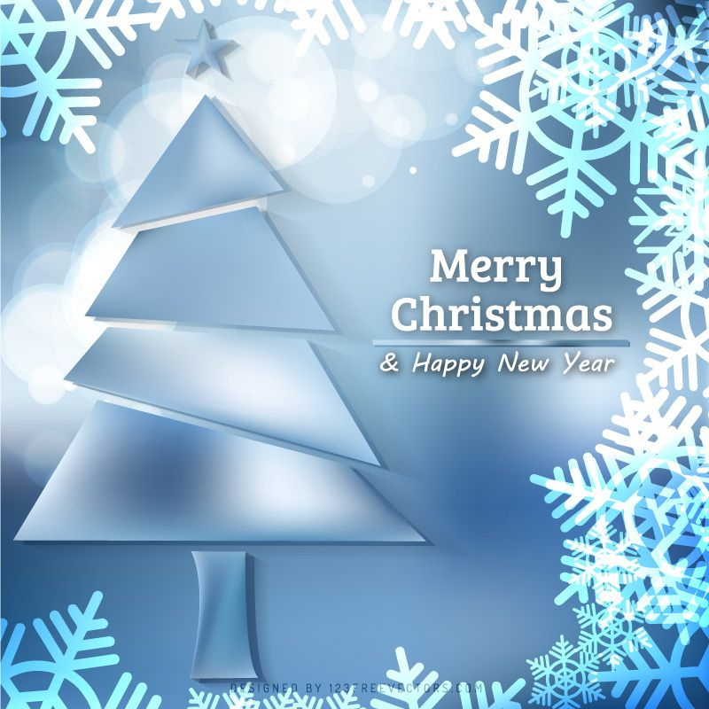 Blue Christmas Tree Background With Snowflakes Christmas