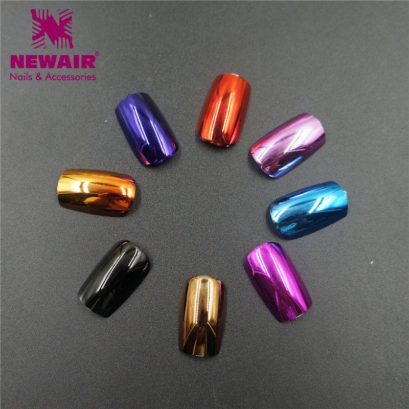 8 Colores Metálicos Uñas Postizas 24 unids Full Cover Falso uñas ...