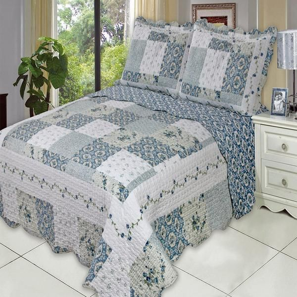 Country Cottage Blue Floral Patchwork Quilt Coverlet Set Oversized