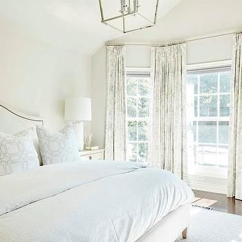White and Ivory Bedroom with Bay Window | Master Bed ...
