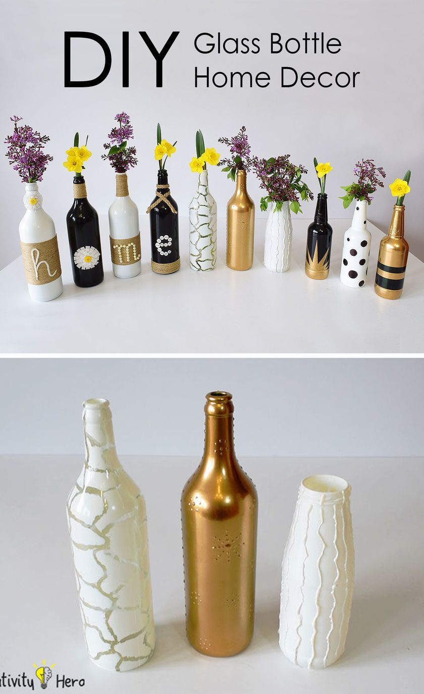 DIY Glass Bottle Home Decor  3 Simple Ideas