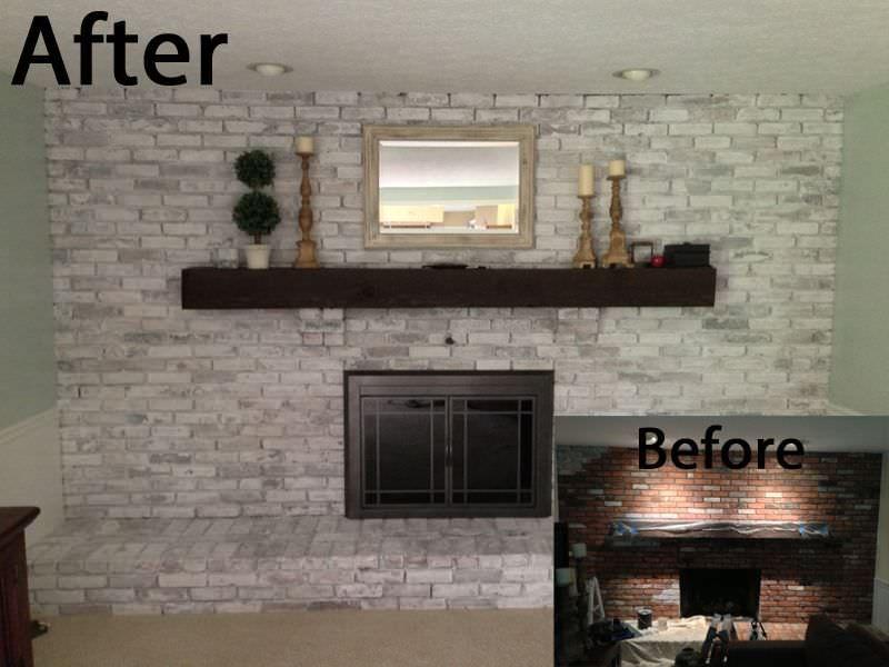Whitewash Brick Fireplace With Black Mortar White Wash Brick