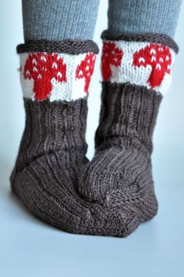 such cool mushroom socks by madebymomoko