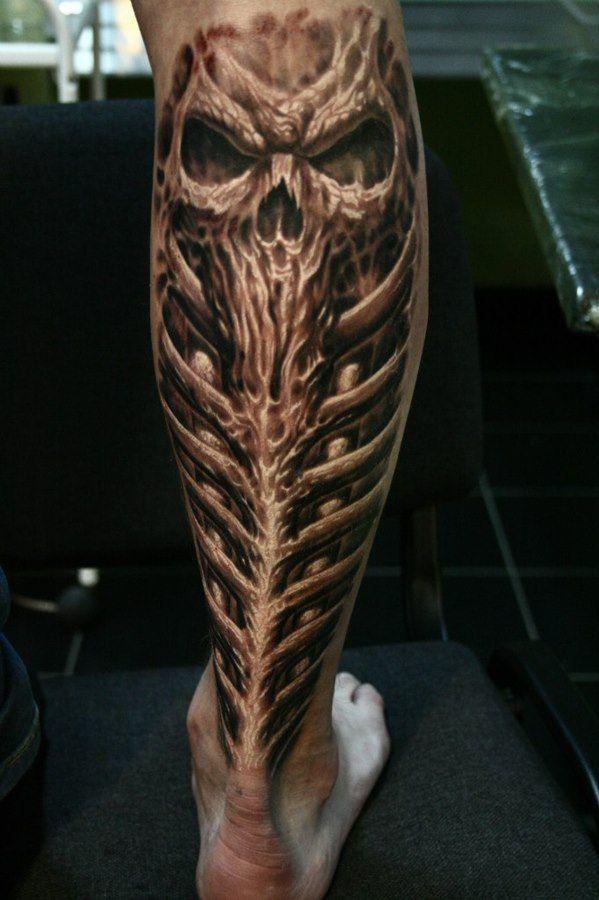 Skull Leg Tattoo Tattoos Leg Tattoos Biomechanical Tattoo