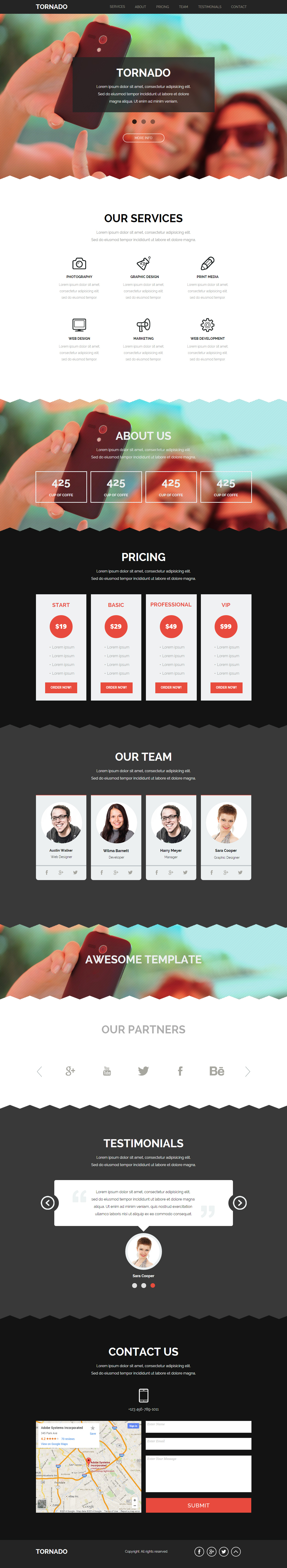 tornado premium one page parallax muse template google fonts