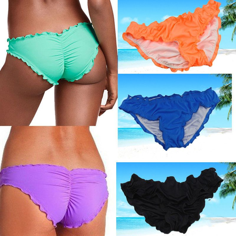 690d663223 Women Lady Swimwear Scrunch Brazilian Semi Thong Bikini Bottom Beachwear Lot