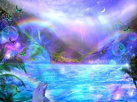 ★Rainbow Over the Ocean★ - love four seasons, valley, attractions in dreams, digital art, beautiful, colors, lovely, dolphins, rainbows, butterfly designs, oceans, butterflies, nature, creative pre-made