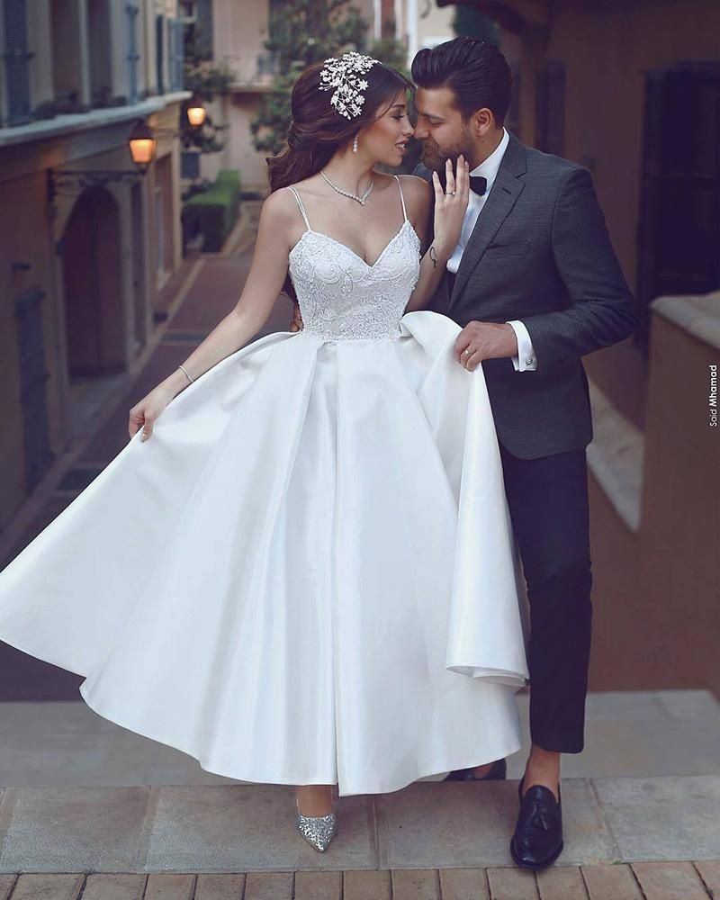 Tea Length Wedding Dresses Spaghetti Straps Beading A Line Satin Short Bridal Gown Short Bridal Dress Ankle Length Wedding Dress Informal Wedding Dresses