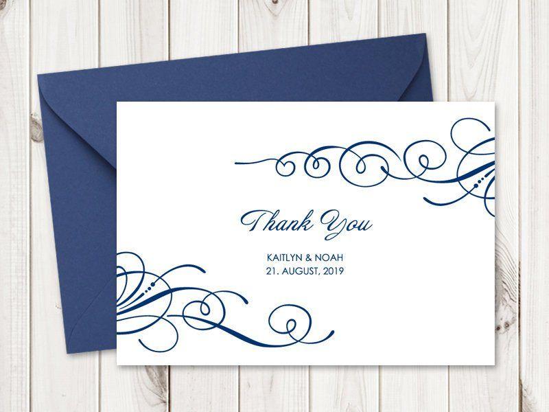 Elegant Wedding Thank You Card Template Tender Etsy Wedding Thank You Cards Thank You Card Template Wedding Thank You