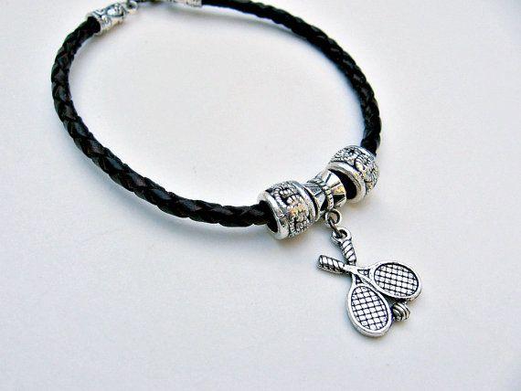Braided Leather Tennis Charm Bracelet by SportsJewelryStudio on Etsy.  etsy.com/shop/sportsjewelrystudio.  $14.00.  #EtsyGifts