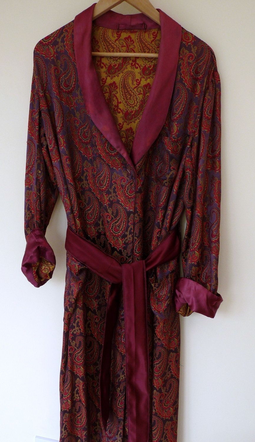 Vintage Paisley Satin Dressing Gown Smoking Jacket 1950s