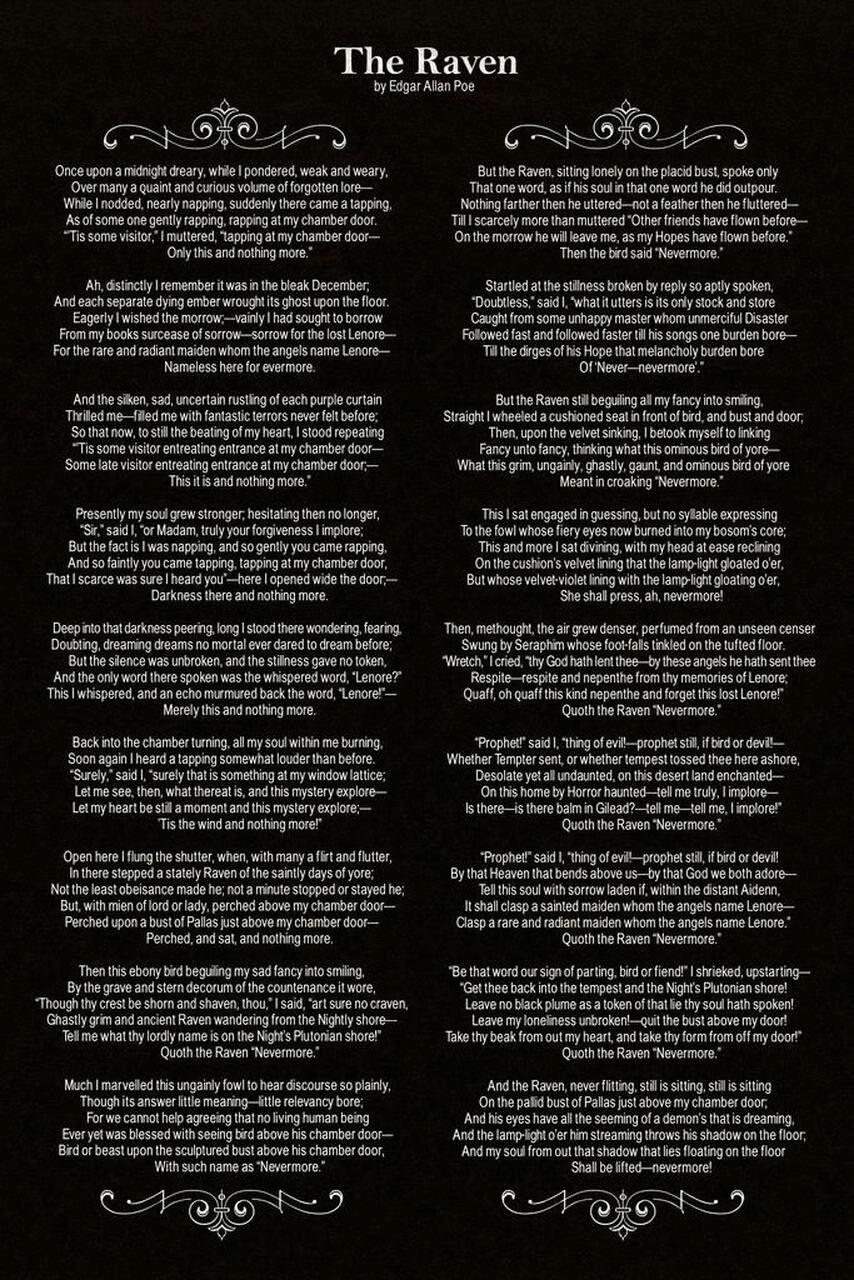 The Raven By Edgar Allan Poe Allen Quote Poem Context