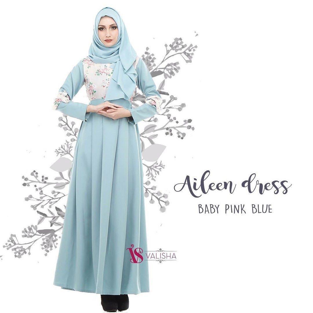 Gamis House Of Valisha Aileen Dress Baby Pink Blue - baju gamis wanita  busana muslim Untukmu 515f3a2246