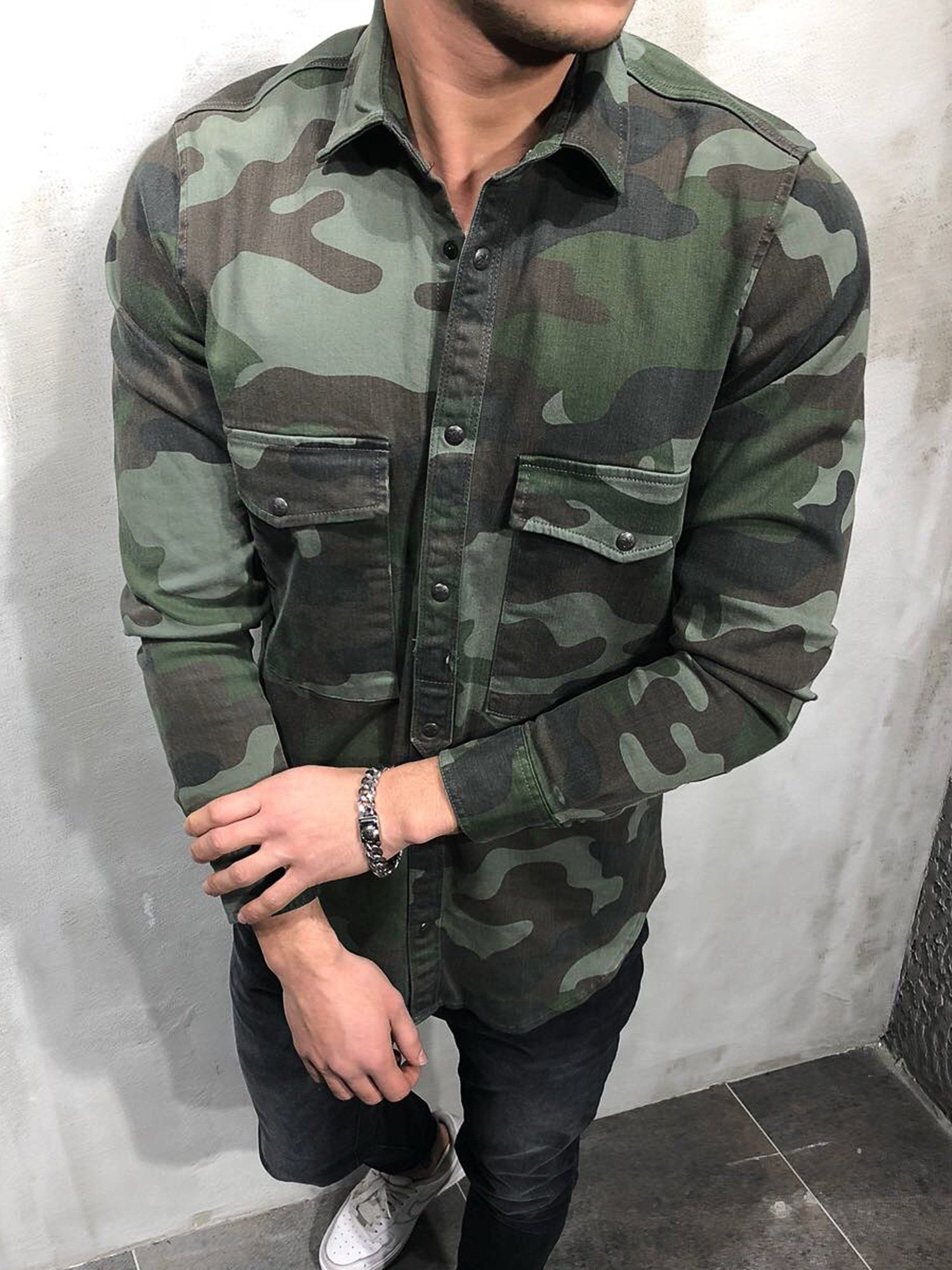 f6fdb6da 2&Y Men Casual General Camouflage Button Up L/S Shirt - Camo | maaz ...
